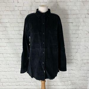 Anthropologie Black Corduroy Button Down Shirt XS